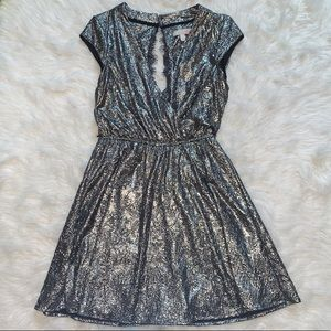 Gold/ silver foil dress with eyelash lace back